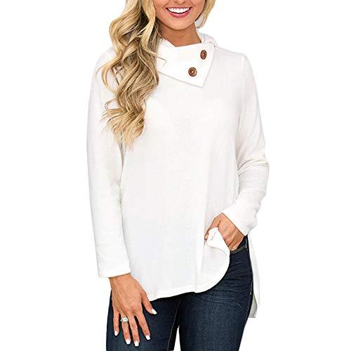 Damen Oberteile MYMYG Mode Frauen Skew Kragen Solid Botton Langarm Sweatshirt Pullover Bluse Herbst...