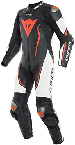 Dainese Misano 2 D-Air® Airbag 1-Teiler Perforierte Motorrad Lederkombi Schwarz/Weiß/Rot 50