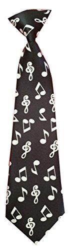 Kinderkrawatte Musik Noten Gitarre Krawatte Kinder Jungen Gummiband gebunden dehnbar Konfirmation (Schwarz Weiß Noten)