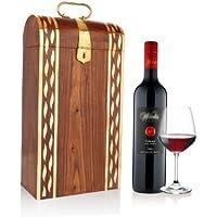 San Valentino regalo, Piacevole intagliato mano leggera supporto di legno singola bottiglia di vino (19 X 10 X 35.5) cm con Mughal particolari in ottone ispirata, Maniglia