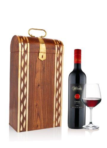 Regali giorno padre, Piacevole intagliato mano leggera supporto di legno singola bottiglia di vino (19 X 10 X 35.5) cm con Mughal particolari in ottone ispirata, Maniglia