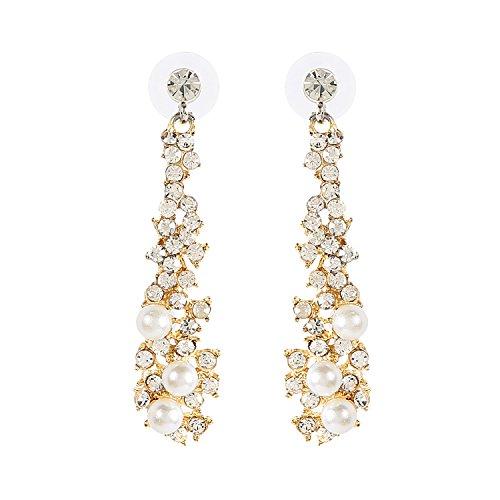 Metme Damen Vintage Style Crystal Simulierte Perle Kronleuchter baumeln Ohrringe Anhänger Braut Hochzeit