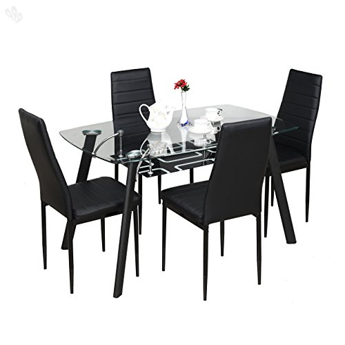 Royal Oak Milan Four Seater Dining Table Set (Black)