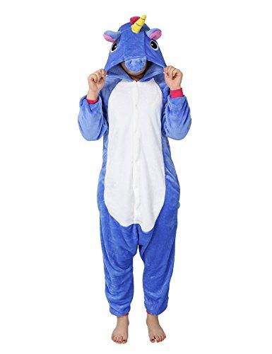 Pigiama donna uomo animale cosplay animato costume camicie da notte carnevale halloween-très chic mailanda (xl per altezza 178-188cm, unicorno blu scuro)