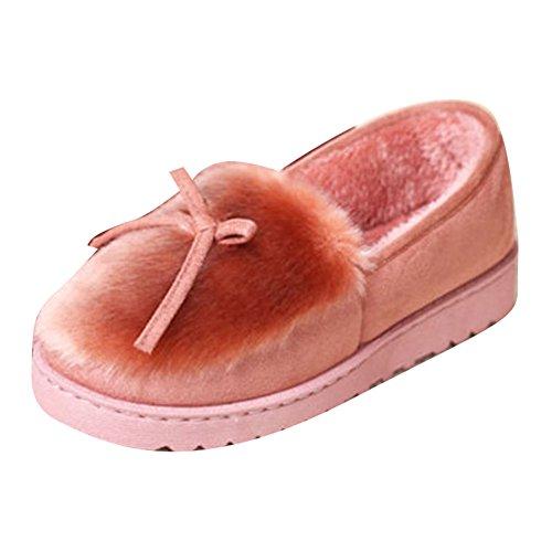 Femme mocassins loafers pantoufles Femmes chaud coton doublé mocassin hiver daim mocassins chaussures de sport pantoufle gris noir rouge rose kaki 36 37 38 39 40 Hibote pink