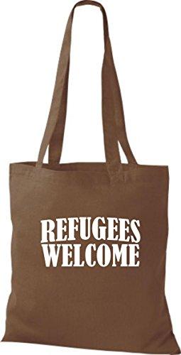 Shirtstown Stoffbeutell Refugees Welcome, Flüchtlinge willkommen, Bleiberecht viele Farben Mittelbraun