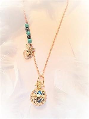 Bola de grossesse or rose plaqué - personnalisé - perles turquoise et hématite