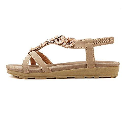 Zicac, sandali infradito da donna estivi con fiori e strass stile hippy Cachi