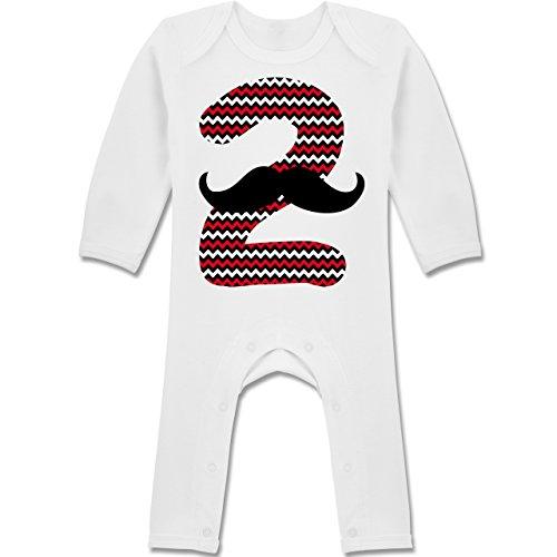 Shirtracer Geburtstag Baby - 2. Geburtstag Moustache Junge - 3-6 Monate - Weiß - BZ13 - Baby-Body Langarm für Jungen und Mädchen