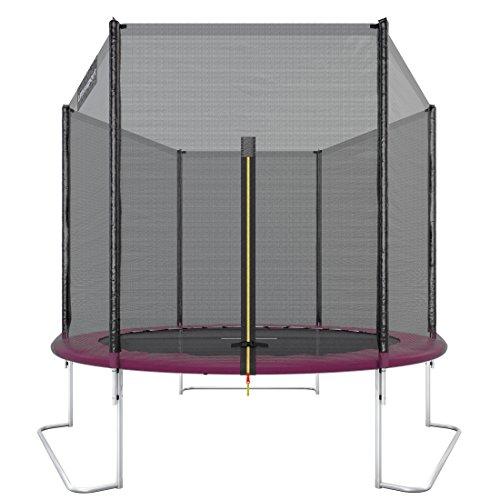 Ultrasport Outdoor Gartentrampolin Jumper, Trampolin Komplettset inklusive Sprungmatte, Sicherheitsnetz, gepolsterten Netzpfosten und Randabdeckung, bis zu 120 kg, pink, Ø 251 cm