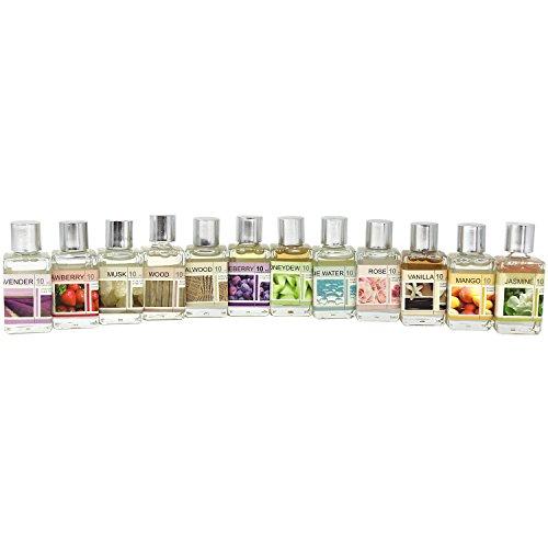 com-four 12x différentes huiles parfumées, huiles parfumées pour Lampes parfumées et Duftstövchen (12 pièces - Ensemble de mélange)