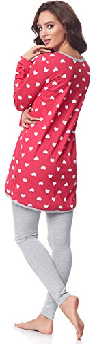 Be Mammy Damen Langarm Pyjama mit Stillfunktion BE20-178 Rosa-Herzen-Melange