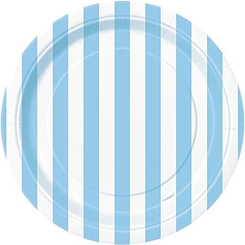 Unique Party - 37984 - Paquet de 8 Assiettes - Carton - Motif Rayé - 18 cm - Bleu Pastel
