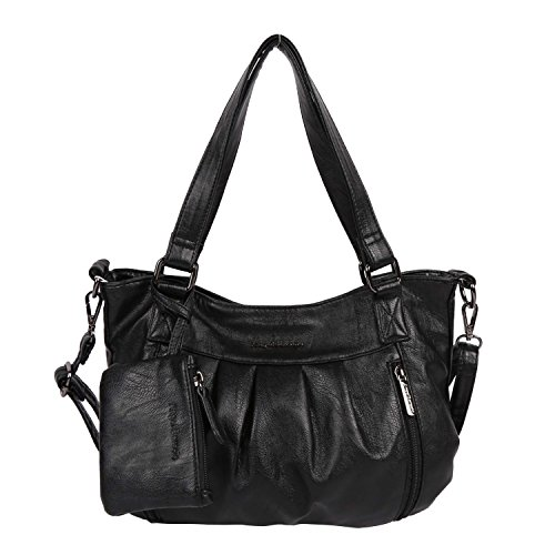 Angel Barcelo Brand Women Shoulder Bags Hobos Bags For Women PU Washed Handbags High Quality Messenger Bags Knitting Casual Tote Bag (Schwarz)