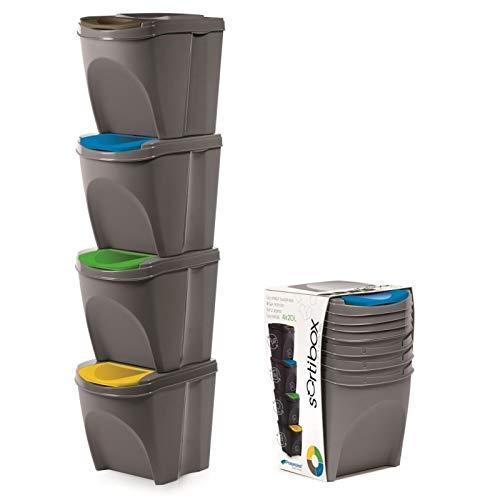 Stolmet Cubo de Basura de plástico con Tapa abatible de 20 litros