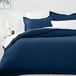 AmazonBasics Microfiber Duvet Cover Set – Twin/Twin XL, Spa Blue (167.6 cm X 228.6 cm) Duvet Cover and (50.8 cm X 66 cm) Pillow Cover