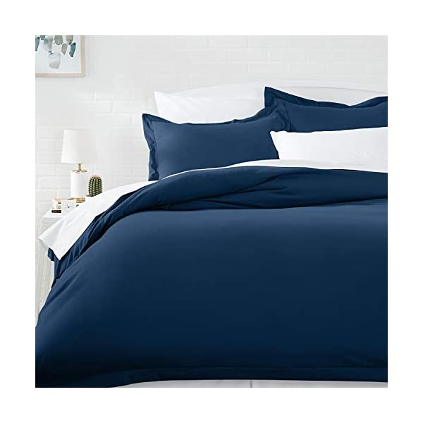 AmazonBasics Microfiber Duvet Cover Set – Full/Queen, Spa Blue – with 2 pillow covers