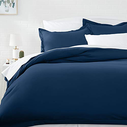 AmazonBasics Microfiber Duvet Cover Set - Twin/Twin XL, Navy Blue