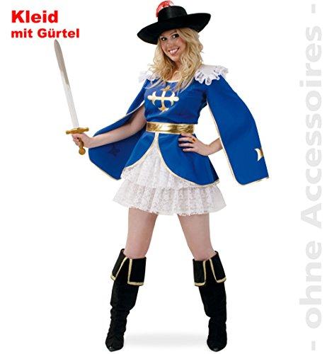 Für 3 Kostüm Musketiere Erwachsene - Musketier Frau Aramea Damen Kleid mit Gürtel Gr 44