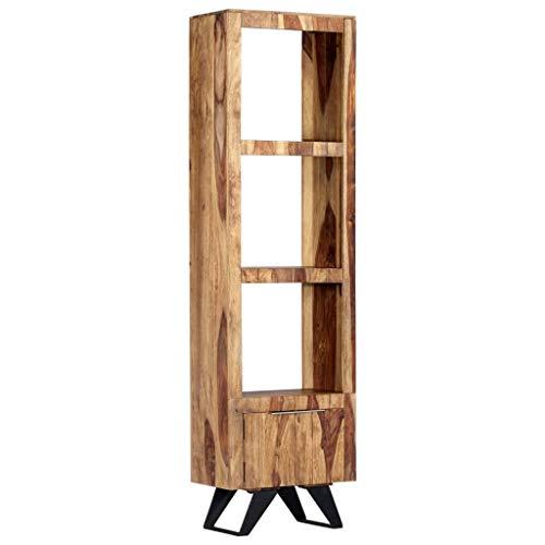 Festnight Vitrinenschrank   Rustikal Highboard   Vintage Kommode   Holz Beistellschrank   mit 1 Tür und 3 Regalböden   Sheesham Massivholz mit Metallbeine 45 x 28 x 180 cm