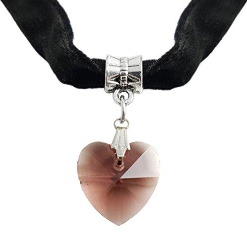 Gothik-Halsband aus schwarzem Samt mit Herzanhänger aus Glasstein in hell rot/rosa, eng anliegende Herz-Kette, auch als Armband geeignet, Größe verstellbar,...