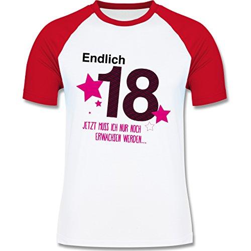 Geburtstag - Endlich 18 - zweifarbiges Baseballshirt für Männer Weiß/Rot