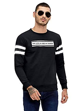 Maniac Printed Men's Fullsleeve Black Cotton Sweatshirt