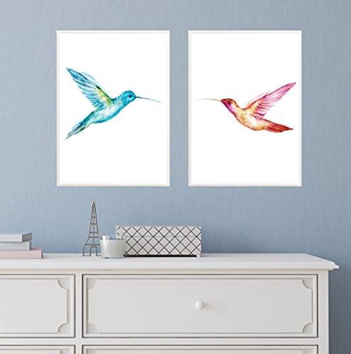 2 Gerahmte Vogel-prints (2er Set Design-Poster 27x42cm Motiv Skandinavisch Kunstdruck Premiumpapier Deko Wohnung Geschenk -ohne Rahmen- Vögel)