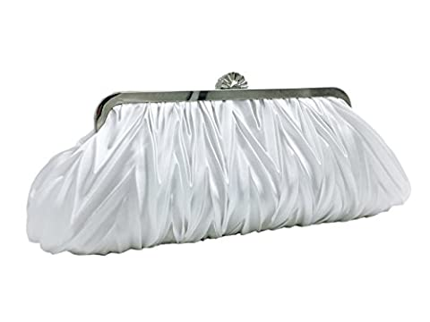 Uni-love Vintage Elegant Clutch Bag Satin Purse Evening Handbags for Women White, Sliver (White)