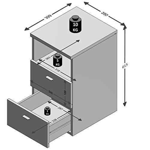 /001/Colima 1/Tavolo di Notte Legno Bianco 35,0/x 40,0/x 61,5/cm FMD Moebel 652/