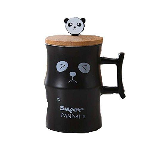 Stilvoller keramischer netter großer Panda-Bambuskaffee-Tee-Schalen-Becher mit Kappen-Löffel, Schwar