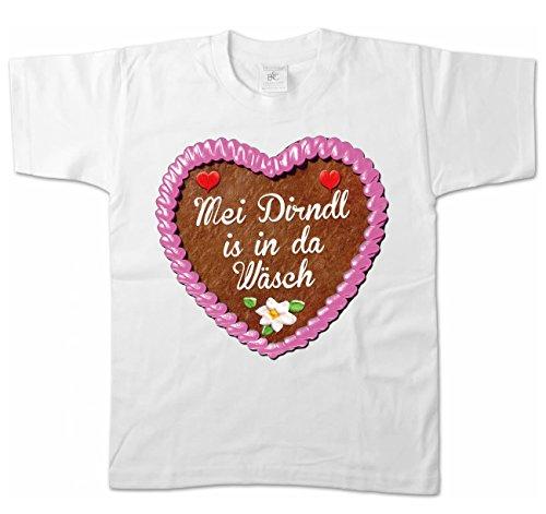 -Shirt - Lebkuchenherz - Mei Dirndl is in da Wäsch Größe 134/146, weiß (Lederhosen Kostüm Kinder)