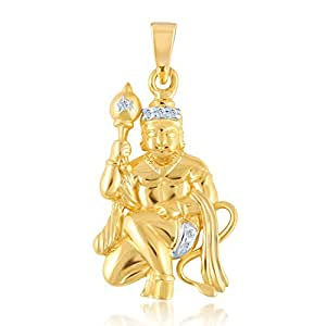 VK Jewels LORD GADHADHARI HANUMAN Gold and Rhodium Plated Alloy God Pendant for Men & Women made with Cubic Zirconia -  PS1012G [VKP1012G]