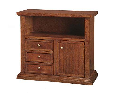 Legno&Design Meuble TV TV 3 tiroirs 1 Porte en Bois Art pauvre Noyer