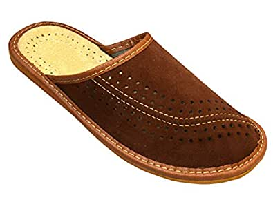 Bawal Herren Hausschuhe Leder Pantoffeln Suede Leder Geschenkkarton (Wahlweise) Modell XC07