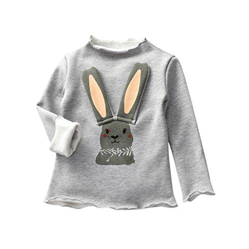 JERFER Langohr-Kaninchen T-Shirt Tops Neugeborene Babykleidung Kleinkind Bluse Kinderbekleidung Babykleider Mädchen Junge Rundhals Langarmshirts 1-4 Jahre (Grau, 18M)