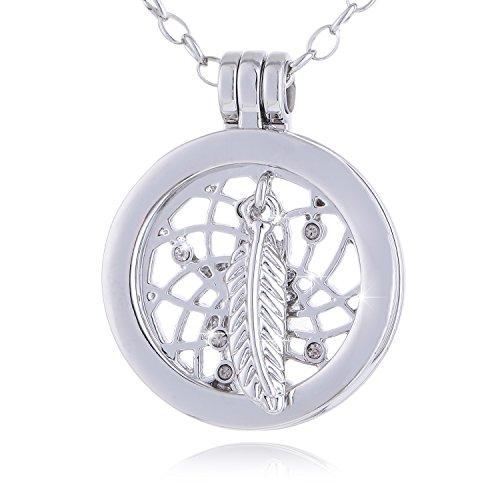 Morella Mujeres Small Coin 23 mm Collar Acero Inoxidable 70 cm atrapasueños con Pluma y Perla Plateado con Bolsa de Terciopelo