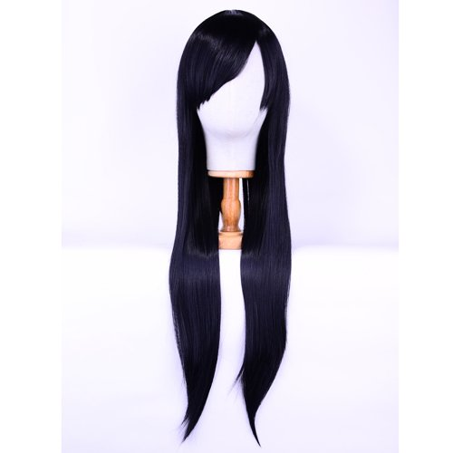 Perücke Schwarz 80cm Lange Damen Wigs Karneval Halloween Party Cosplay Anime Kostüm Mottoparties