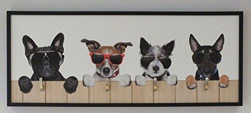 Garderobe ?Cool Dog?, Hakenleiste, Garderobenleiste, Kleiderhaken, silber, 25x63x5 cm, Diele, Flur, Garderobenpaneel, Garderobenhaken, Garderobe