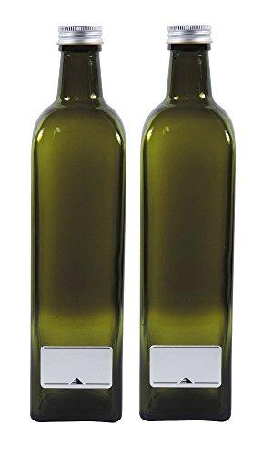 2x leere Ölflasche 750ml, grün-braune Glasflasche zum selbst befüllen, inkl. 2 Beschriftungsetiketten (Schnaps Beispiel Flaschen)