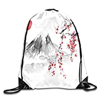 HouyunCC Drawstring Bag Japan Style Red Flower Pattern Rucksack For Travel