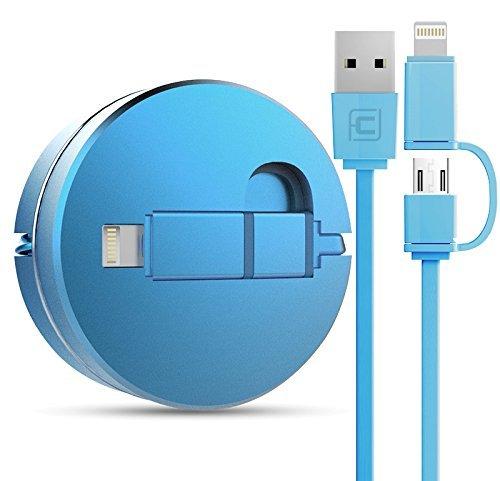 Cavo Retrattile USB 2 in 1 per IOS e Android [Garanzia a Vita] Cavo per iPhone 7 / 7 Plus / 6 / 6 Plus / 6S / 6S Plus / 5S / 5C / 5 / SE, iPad Air / 2, iPad mini / 2 / 3, iPad 4, iPad Pro, e Tutti Gli Smartphone di Android--100cm Blue