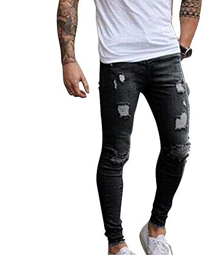 Qitun elasticizzati da uomo strappati jeans taglio pantaloni skinny sguardo distrutto patchato stile 05nero s
