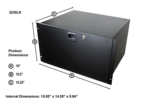 Penn Elcom Standard Stahl Rack Schublade mit SLAM Verriegelung & Kodiert Lock (Audio-Ausrüstung, Home Theater ES, DJ) 38,7cm Tief Gear Aufbewahrung 6U (10.5