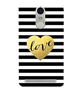 FUSON Gold Glitter Heart Love 3D Hard Polycarbonate Designer Back Case Cover for Lenovo K5 Note :: Lenovo Vibe K5 Note Pro