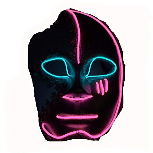 HYSMJ Masken Halloween-Maske Gute Qualität EL Kaltlicht Linie Beleuchtung Dekoration Requisiten A (Gute Halloween-masken Qualität)