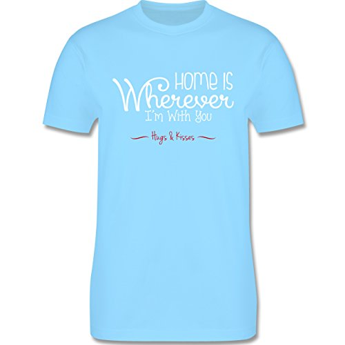 Statement Shirts - Home Is Wherever I'm With You Hugs & Kisses - Herren Premium T-Shirt Hellblau