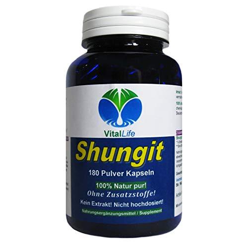 Shungit PREMIUM Edel Schungit 180 Pulver Kapseln | Antioxidantien Selbstheilung Immunsystem Abwehrkräfte | NATUR pur - OHNE ZUSAZSTOFFE | 26327
