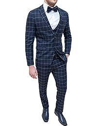 552588f5c226 Evoga Abito Sartoriale Completo Uomo Giacca Pantaloni con Gilet Blu Quadri  Invernale