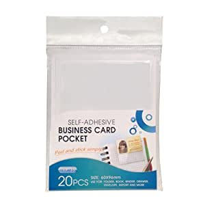 TruBind Self-Adhesive Business Card Pockets, Horizontal, 20-Pack (YP-35) by TruBind